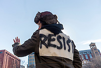 New York, USA 17 February 2017 - Activists rallied in Washington Square, in solidary with the  General Strike, to protest Trump Administration and their anti-democratic policies.  ©Stacy Walsh Rosenstock/Alamy Live News
