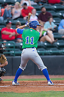 Mike Hill (11) of the Lexington Legends at bat against the Hickory Crawdads at L.P. Frans Stadium on April 29, 2016 in Hickory, North Carolina.  The Crawdads defeated the Legends 6-2.  (Brian Westerholt/Four Seam Images)