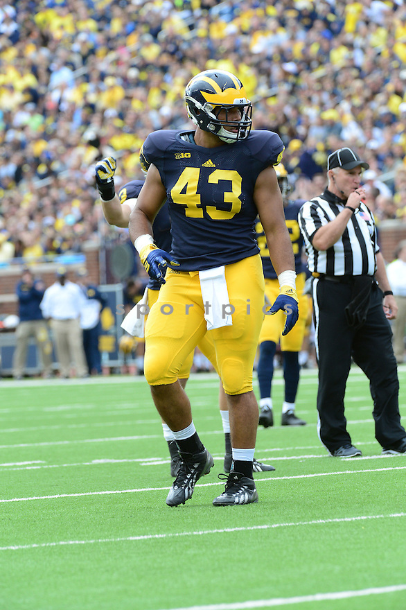 Michigan Wolverines Chris Wormley (43) during a game against the UNLV Rebels on September 19, 2015 at Michigan Stadium in Ann Arbor, MI. Michigan beat UNLV 28-7.