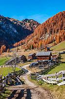 Italien, Suedtirol (Trentino - Alto Adige), St. Martin in Thurn - Ortsteil und Bergsteigerdorf Campill im Campilltal: Weiler Seres im Muehlental, in ladinischer Sprache 'Val di Morins' | Italy, South Tyrol (Trentino - Alto Adige), Campill Valley (Val di Longiarù): mountain village Campill (Longiarù) - hamlet Seres at Mill Valley 'Val di Morins'