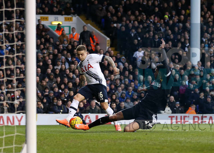 Tottenham's Kieran Trippier scoring his sides opening goal<br /> <br /> Barclays Premier League - Tottenham Hotspur vs Watford  - White Hart Lane - England - 6th February 2016 - Picture David Klein/Sportimage