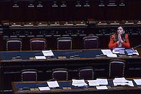 Roma, 27 Aprile 2015<br /> La legge elettorale approda alla Camera dei Deputati.<br /> La Ministra Maria Elena Boschi in rappresentanza del Governo