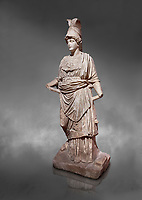 Roman statue of Athena. Marble. Perge. 2nd century AD. Inv no . Antalya Archaeology Museum; Turkey.  Against a grey background