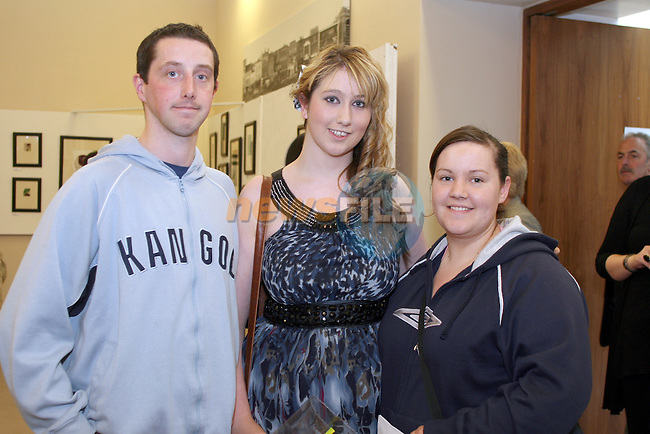 Paul Doran, Sinead Doran and Deborah Devine at the DIFE End of Year Exhibition in the D Hotel...Photo NEWSFILE/Jenny Matthews.(Photo credit should read Jenny Matthews/NEWSFILE)....This Picture has been sent you under the condtions enclosed by:.Newsfile Ltd..The Studio,.Millmount Abbey,.Drogheda,.Co Meath..Ireland..Tel: +353(0)41-9871240.Fax: +353(0)41-9871260.GSM: +353(0)86-2500958.email: pictures@newsfile.ie.www.newsfile.ie.FTP: 193.120.102.198.
