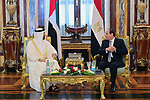 Egyptian President Abdel Fattah al-Sisi receives Crown Prince of Abu Dhabi Deputy Supreme Commander of the UAE Armed Forces Mohammed Bin Zayed al-Nahyan at Ras al-Tin Palace in Alexandria, Egypt, 27 March 2019. Photo by Egyptian President Office