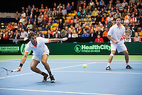 07-04-12, Netherlands, Amsterdam, Tennis, Daviscup, Netherlands-Rumania, Dubbels, Igor Sijsling en Jean-Julien Rojer(L)