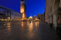 An empty St Marks square at dawn, before the tourists arrive, Venice, Italy. May 2007
