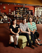 From left, Jamie Fiocco, Land Arnold, Sarah Carr of Flyleaf Bookstore in Chapel Hill Monday, July 16, 2012.