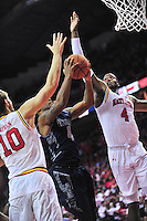 Hoyas' D'Vauntes Smith-Rivera takes on the Terrapin's defense. Maryland defeated Georgetown 75-71 during a game at Xfinity Center in College Park, MD on Wednesday, November 17, 2015.  Alan P. Santos/DC Sports Box