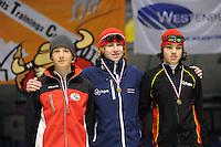 SCHAATSEN: HEERENVEEN: Thialf, Viking Race, 18-03-2011, Podium Boys14 1000m, Linus Heidegger (AUT), Wesly Dijs (NED), Patrick Roest (NED), ©foto Martin de Jong