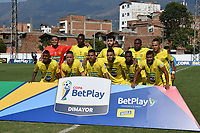 ITAGÜÍ - COLOMBIA, 04-03-2020: Jugadores de Leones posan para una foto previo al encuentro entre Leones F.C. y Boca Juniors de Cali por la primera ronda de clasificación de la Copa BetPlay DIMAYOR 2020 jugado en el estadio Polideportivo Sur de Envigado. / Players of Leones pose to a photo prior the second leg match between Leones F.C. and Boca Juniors de Cali between Leones F.C. and Boca Juniors de Cali for the first round of classification as part of BetPlay DIMAYOR Cup 2020 played at Polideportivo Sur stadiim in Envigado city.  Photo: VizzorImage / Leon Monsalve / Cont