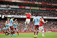 Sokratis Papastathopoulos of Arsenal heads towards goal during the Premier League match between Arsenal and Aston Villa at the Emirates Stadium, London, England on 22 September 2019. Photo by Carlton Myrie / PRiME Media Images.