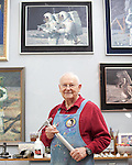 Portrait of painter and former NASA Apollo 12 astronaut Alan Bean at his home studio in Houston, Texas on October 30, 2012. He holds the hammer that he used on the moon and now uses to create texture in his paintings. CREDIT Lance Rosenfield/Prime