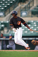 GCL Orioles outfielder Jaylen Ferguson (18) at bat during the first game of a doubleheader against the GCL Rays on August 1, 2015 at the Ed Smith Stadium in Sarasota, Florida.  GCL Orioles defeated the GCL Rays 2-0.  (Mike Janes/Four Seam Images)