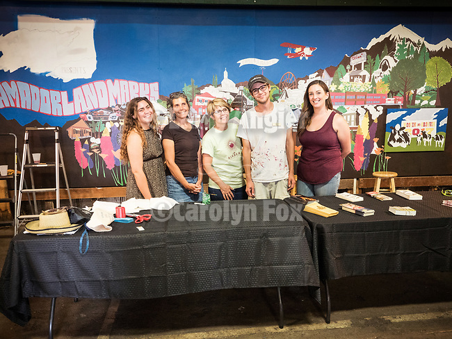 Debut and ribbon cutting of the Amador Chamber of Commerce mural at the Amador County Fair featuring Amador County Landmarks spearheaded by Max Leitzell and Cooper Family Wines, Plymouth, Calif.<br /> <br /> #AmadorCountyFair, #VisitAmador, #TourAmador, #AmadorChamberOfCommerce, #MaxLeitzell, #CooperWines