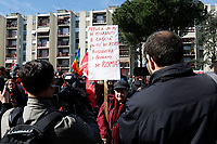Banner, Will drowning immigrants and chasing Roma people solve Rome's problems?<br /> Rome April 6th 2019. Counterdemonstration of activists from the anti-fascist movements in the Torre Maura district of Rome, two days after Rome residents and neo-fascists burned bins and shouted racist slogans at Roma families being temporarily hosted in their neighbourhood. <br /> photo di Samantha Zucchi/Insidefoto