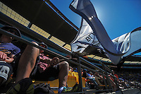 Fans settle in for the ICC Cricket World Cup one day pool match between the New Zealand Black Caps and England at Wellington Regional Stadium, Wellington, New Zealand on Friday, 20 February 2015. Photo: Dave Lintott / lintottphoto.co.nz