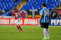ATENCAO EDITOR: FOTO EMBARGADA PARA VEÍCULOS INTERNACIONAIS. - RIO DE JANEIRO, RJ, 16 DE SETEMBRO DE 2012 - CAMPEONATO BRASILEIRO - FLAMENGO X GREMIO - Adryan, jogador do Flamengo, comemora o sol gol, observado por Werley, durante partida contra o Gremio, pela 25a rodada do Campeonato Brasileiro, no Stadium Rio (Engenhao), na cidade do Rio de Janeiro, neste domingo, 16. FOTO BRUNO TURANO BRAZIL PHOTO PRESS