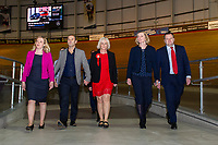 Pictured: Labour's candidate Ruth Jones (centre) during the Newport West by-election ballot count at the Geraint Thomas National Velodrome of Wales in Newport, South Wales, UK. Friday 05 April 2019<br /> Re: Voters in Newport West are going to the polls to elect a new member of Parliament.<br /> The seat in south east Wales became vacant following the death of Paul Flynn earlier in February.