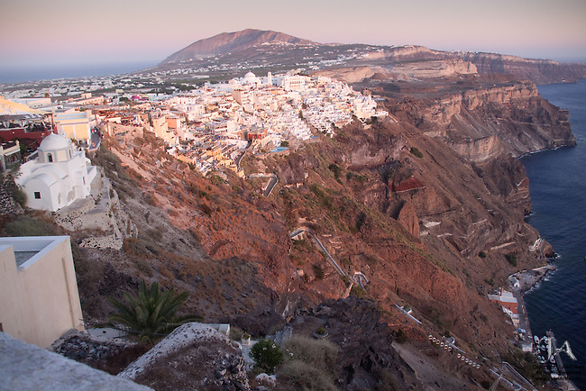 Wide view of Fira at Dusk