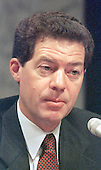 United States Senator Sam Brownback (Republican of Kansas), a member of the US Senate Governmental Affairs Committee investigating alleged abuses in campaign funding in 1996 in Washington, DC on July 8, 1997.  Brownback, a conservative, won the seat formerly held by US Senator Bob Dole (Republican of Kansas).  He wanted the hearings to investigate congressional as well as presidential elections in 1996.<br /> Credit: Ron Sachs / CNP