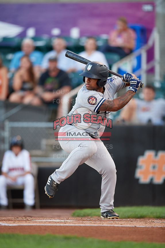 Staten Island Yankees left fielder Canaan Smith (11) at bat during a game against the Aberdeen IronBirds on August 23, 2018 at Leidos Field at Ripken Stadium in Aberdeen, Maryland.  Aberdeen defeated Staten Island 6-2.  (Mike Janes/Four Seam Images)