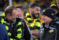 Assistant coach John Plumtree jokes with head coach Chris Boyd after the Super Rugby final match between the Hurricanes and Lions at Westpac Stadium, Wellington, New Zealand on Saturday, 6 August 2016. Photo: Dave Lintott / lintottphoto.co.nz