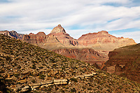 Vishnu Temple (left) and Rama Shrine (right) seen from the Tonto Plateau below Horseshoe Mesa in the Grand Canyon.