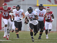 NWA Democrat-Gazette/MICHAEL WOODS • @NWAMICHAELW<br /> Texas Tech running back DeAndre Washington runs for a big gain in the 1st quarter of Saturday nights game against the Razorbacks at Razorback Stadium in Fayetteville.