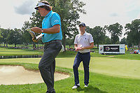 Phil Mickelson (USA) and Justin Thomas (USA) head to 4 during 1st round of the World Golf Championships - Bridgestone Invitational, at the Firestone Country Club, Akron, Ohio. 8/2/2018.<br /> Picture: Golffile | Ken Murray<br /> <br /> <br /> All photo usage must carry mandatory copyright credit (© Golffile | Ken Murray)