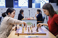 31st December 2019, Moscow, Russia;Tan Zhongyi L of China and Anna Muzychuk of Ukraine compete in the Blitz Women final round at 2019 King Salman World Rapid & Blitz Chess Championship in Moscow, Russia