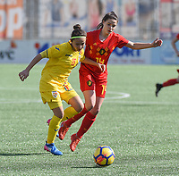 20180326 - ZALTBOMMEL , THE NETHERLANDS : Belgian Constance Brackman (R) and Romanian Madalina Maria Tatar (L) pictured during the UEFA Women Under 17 Elite round game between Belgium WU17 and Romania WU17, on the second matchday in group 1 of the Uefa Women Under 17 elite round in The Netherlands , monday 26 th March 2018 . PHOTO SPORTPIX.BE    DIRK VUYLSTEKE