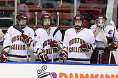 ?, Meghan Fardelmann (Boston College - 18), Andrea Green (Boston College - 21), Colleen Harris (Boston College - 11) - The Boston College Eagles defeated the Harvard University Crimson 1-0 to win the Beanpot on Tuesday, February 10, 2009, at Matthews Arena in Boston, Massachusetts.