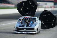 Aug. 31, 2012; Claremont, IN, USA: NHRA pro mod driver Adam Flamholc during qualifying for the US Nationals at Lucas Oil Raceway. Mandatory Credit: Mark J. Rebilas-