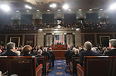 US President Donald J. Trump delivers his first address to a joint session of Congress from the floor of the House of Representatives in Washington, DC, USA, 28 February 2017.  Traditionally the first address to a joint session of Congress by a newly-elected president is not referred to as a State of the Union.
