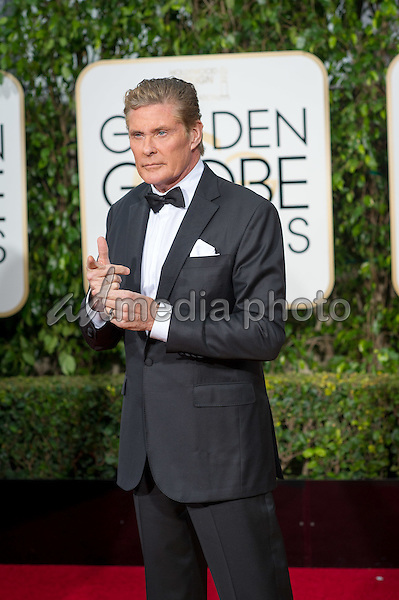 David Hasselhoff arrives at the 73rd Annual Golden Globe Awards at the Beverly Hilton in Beverly Hills, CA on Sunday, January 10, 2016. Photo Credit: HFPA/AdMedia