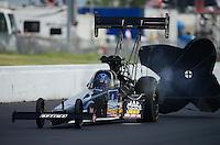 May 20, 2012; Topeka, KS, USA: NHRA top fuel dragster driver David Grubnic during the Summer Nationals at Heartland Park Topeka. Mandatory Credit: Mark J. Rebilas-