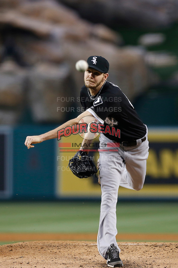 Chris Sale #49 of the Chicago White Sox pitches against the Los Angeles Angels at Angel Stadium on May 17, 2013 in Anaheim, California. (Larry Goren/Four Seam Images)