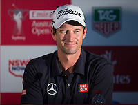Adan Scott of Australia gives a press conference after his second round at the Emirates Australian Open Golf