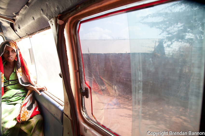 Patients ferried in an impromptu ambulance enroute to the MSF hospital at Daddab refugee camp. Measels and malnutrition are growing problems in the overcrowded Kenyan camp near the Somali border.