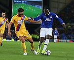 James Tomkins of Crystal Palace tussles with Romelu Lukaku of Everton during the Premier League match at Goodison Park Stadium, Liverpool. Picture date: September 30th, 2016. Pic Simon Bellis/Sportimage