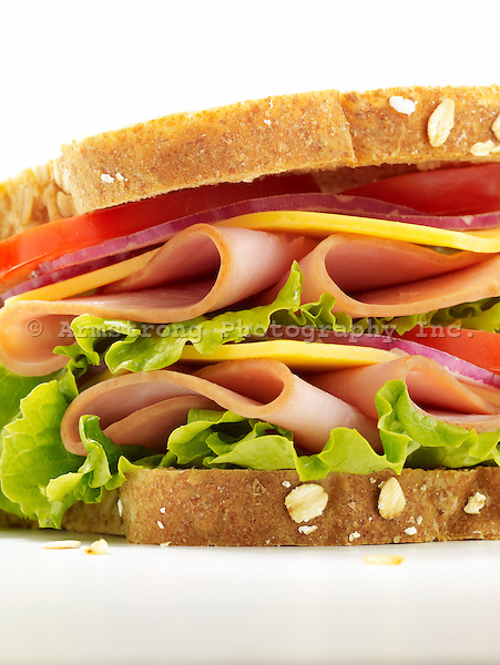 Close up of ham sandwich