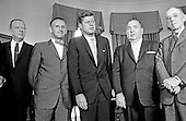 United States President John F. Kennedy meets Mayor Richard J. Daley (Democrat of Chicago) and officials from Illinois in the Oval Office of the White House in Washington, DC on July 11, 1962.  From left to right: Chairman of the Real Estate Research Corporation, James C. Downs, Jr.; US Representative Sidney R. Yates (Democrat of Illinois); President Kennedy; Mayor Daley; US Representative Thomas J. O'Brien (Democrat of Illinois).<br /> Credit: Arnie Sachs / CNP