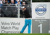 15.10.2014. The London Golf Club, Ash, England. The Volvo World Match Play Golf Championship.  Day 1 group stage matches.  Alexander Levy [FRA]  tee shot on the first hole in his match against  Graeme McDowell [NIR].