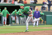 Notre Dame Fighting Irish pitcher Ryan Smoyer (3) delivers a pitch during a game against the Clemson Tigers at Doug Kingsmore Stadium on March 11, 2017 in Clemson, South Carolina. The Tigers defeated the Fighting Irish 6-5. (Tony Farlow/Four Seam Images)