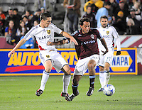 25 October 08: Rapids midfielder Nick LaBrocca dribbles against Real  Salt Lake midfielder Will Johnson (in white). Real Salt Lake tied the Colorado Rapids 1-1 at Dick's Sporting Goods Park in Commerce City, Colorado. The tie advanced Real Salt Lake to the playoffs.