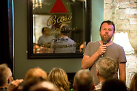 13th July 2019: Comedian Michael Legge performans his show 'The Idiot' on day 1 of the 2019 Comedy Crate Festival in Northampton