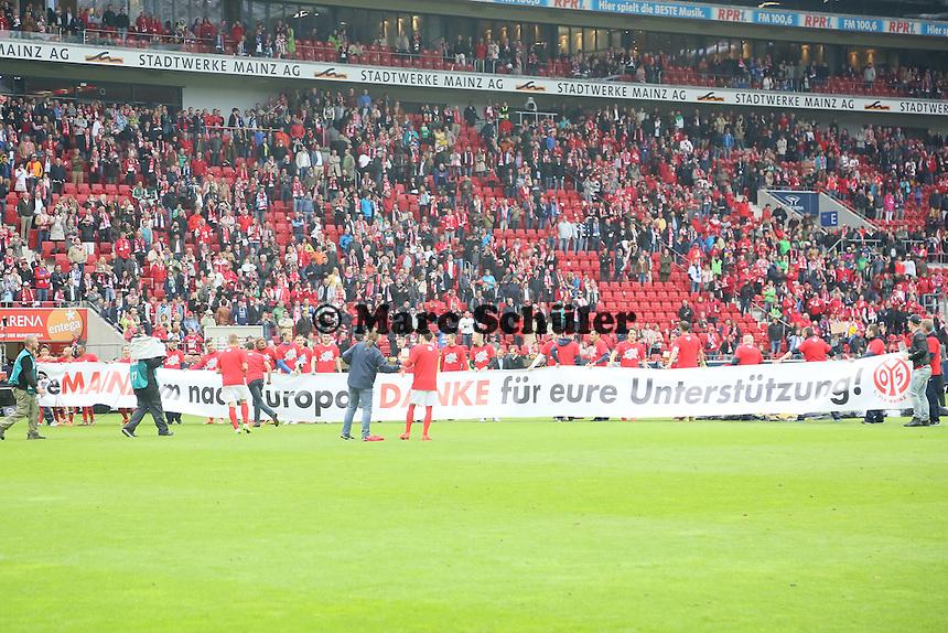 Mainz bedankt sich für die Unterstützung - 1. FSV Mainz 05 vs. Hamburger SV, Coface Arena, 34. Spieltag