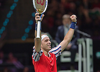 Februari 11, 2015, Netherlands, Rotterdam, Ahoy, ABN AMRO World Tennis Tournament, Gilles Muller (LUX) celebrates his victory over Dimitrov<br /> Photo: Tennisimages/Henk Koster