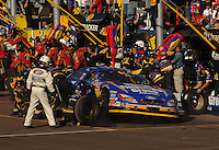 Nov 12, 2005; Phoenix, Ariz, USA;  Nascar driver Carl Edwards makes a pit stop during the Busch Series Arizona 200 at Phoenix International Raceway. Mandatory Credit: Photo By Mark J. Rebilas